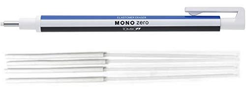 Tombow Mono Zero Präzisions-Radierer runde Spitze + 4 Ersatzradierer (Weiß - Blau)