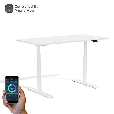 StudiONE 59X30 Inches Dual Motor Electric Height Adjustable Standing Desk, Sit Stand, 2 USB Charging, APP Remote Control, Memory Controller, White by StudiOne Smart Office