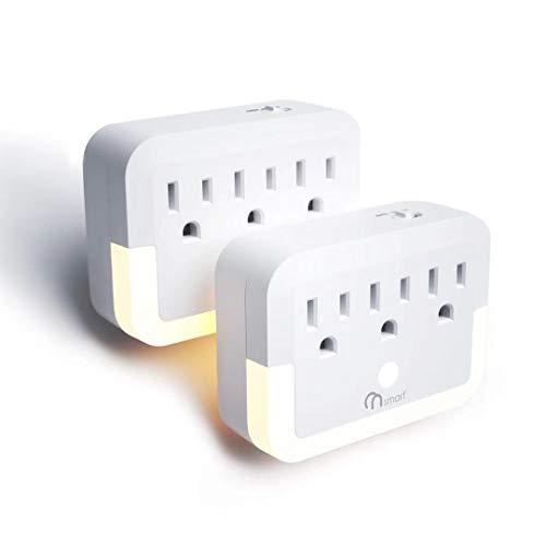 ONSMART toma de pared, luz nocturna con 3 extensores de salida, luz nocturna LED blanca cálida con sensor de atardecer a amanecer, apto para pasillo, escaleras, baño, dormitorio, salón, cocina