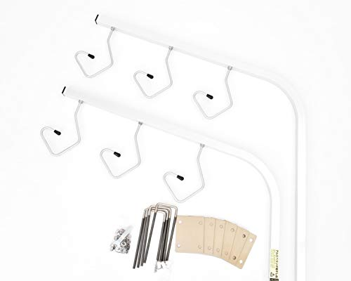 ベランダ固定物干し台 太さ25角 (4穴金具6枚・手すり対応金具付き長ボルト)左右2本1台分セット 本体カラー:シルバー