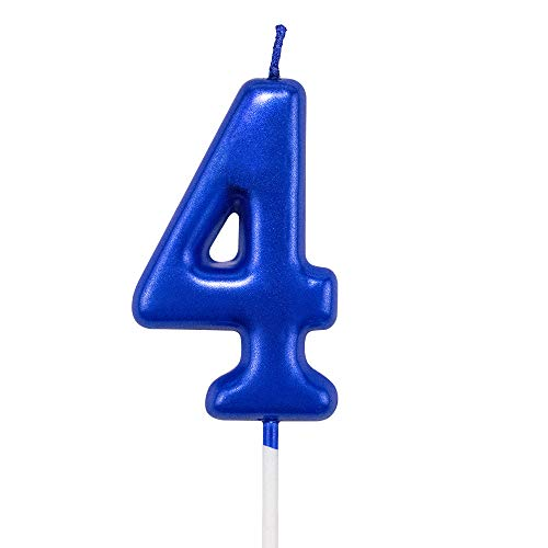 NEWCANDLE Blue Birthday Candles 4 Candle 4th Four Years Cake Bady Roman Numberal Cool Number Candle No 40 41 42 43 44 45 46 47 48 49