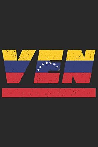 VEN: Venezuela Notizbuch mit karo 120 Seiten in weiß. Notizheft mit der venezolanischen Flagge