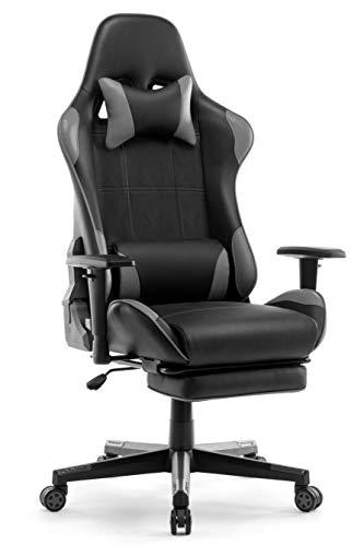 IntimaTe WM Heart Sedia Gaming, Sedia da Ufficio ergonomica, Sedia per Computer, Sedia da Gioco, Sedia da a Corsa, Sedia Girevole con poggiapiedi, Grigio