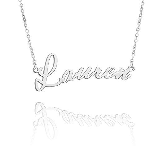 BUREI Collar con Nombre Personalizado para Mujer, Collar con Colgante de Plata, Regalos para Lauren