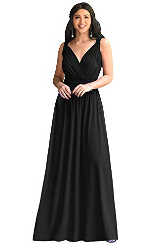KOH KOH Plus Size Womens Long Sleeveless Flowy Bridesmaids Cocktail Party Evening Formal Sexy Summer Wedding Guest Ball Prom Gown Gowns Maxi Dress Dresses, Black 3XL 22-24