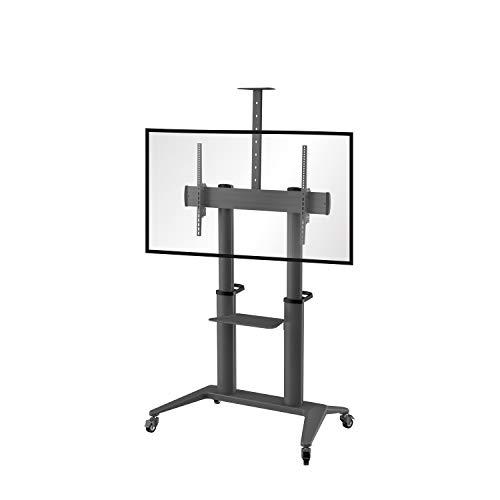 conecto LM-FS03NB Pro TV Ständer Standfuß rollbar Universal für Monitor Fernseher LCD LED Plasma mobil mit Rollen höhenverstellbar schwenkbar drehbar 70-120 Zoll VESA 200x200 1000x600 Alu schwarz