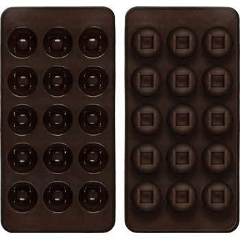 Shibby - 2er Set Pralinenformen aus Silikon - Rund/Quadratisches Design
