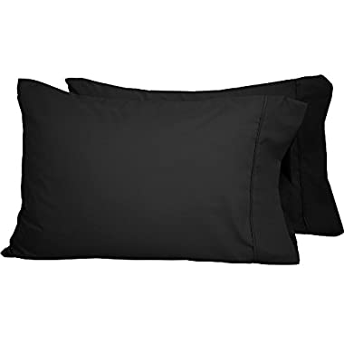 Bare Home Premium 1800 Ultra-Soft Microfiber Pillowcase Set - Double Brushed - Hypoallergenic - Wrinkle Resistant (Standard Pillowcase Set of 2, Black)