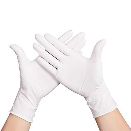 Yardwe 100 Stück Einweg-Nitrilhandschuhe Medizinische Untersuchungshandschuhe Mehrzweckhandschuhe für Medizinische Zwecke Reinigung Arbeiten Kochen Kochen Waschgröße XL (Weiß Dünn)