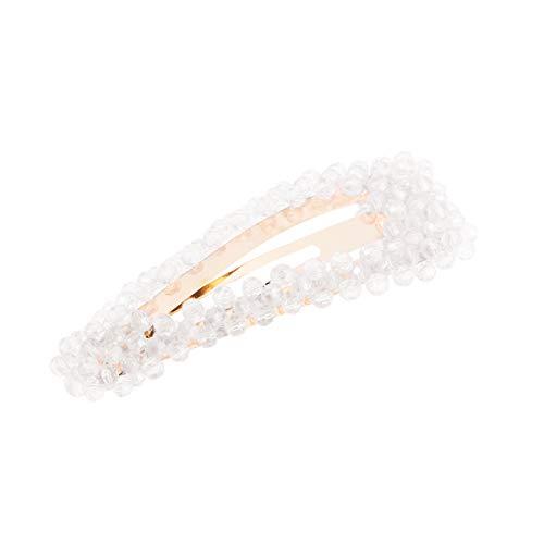 Lurrose Pince à cheveux en cristal perles boutons-pression Barrettes cheveux classique en métal