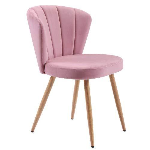 ModernLuxe Esszimmerstühl Samt Küchenstuhl Wohnzimmerstuhl mit Shell-Stil Rückenlehne Vintage Sessel Polsterstuhl Komfort Sitzgefühl, Sitzhöhe 46,5 cm (1er, Rosa)