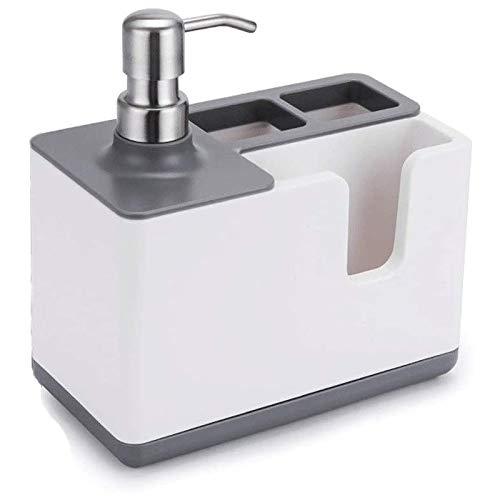 Qinmo Seifenspender Multifunktionshanddesinfektionsmittel Separator & Storage Box Organizer Zahnpasta Zahnbürste Dispenser for Bad, Hotel (Color : Gray)