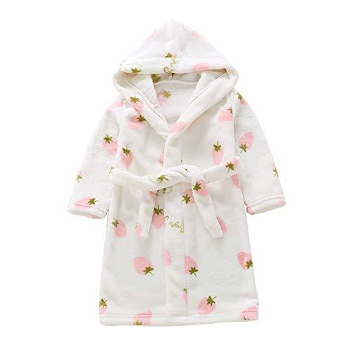 Happy Cherry Jungen und Mädchen Hausmantel Kinder Bademantel Kleinkinder Morgenmantel mit Kapuze Flauschiger Nachtwäsche Robe Badetuch aus Samt Weiß 3 - Größe 120cm
