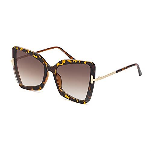 FDNFG Gafas de Sol Plaza de Gran tamaño Mujeres Gafas de Sol Femenino Colorido Sombras FPR Mujeres Gafas de Sol (Lenses Color : Leopard Brown)