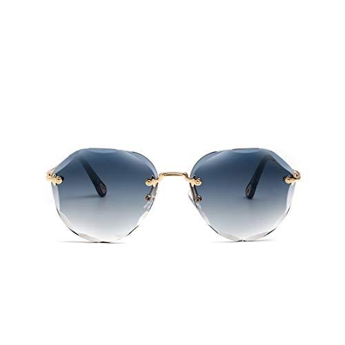 kimorn Sonnenbrillen für Frauen Schatten im Freien Groß randlose Diamant-Schneidlinse Classic K0637 (Blau)