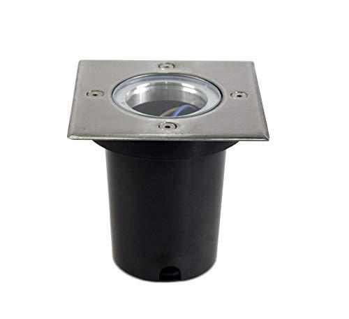 Vetrineinrete Faretto ad incasso quadrato segnapassi con attacco gu10 luce da pavimento terra per esterno calpestabile segnapasso giardini e vialetti impermeabile IP65 ES13-Q G74