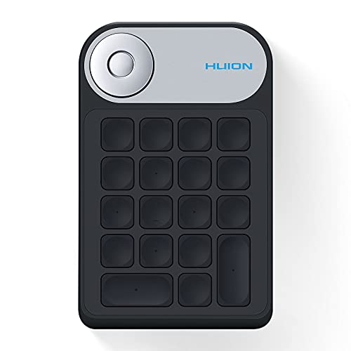 HUION KeyDial KD100 Wireless Express Key Fernbedienung, Shortcut-Tastatur mit Dial Controller + 18 Benutzerdefinierten Tasten, Tragbare Tastatur für Zeichentablett, PC, Laptop, Mac