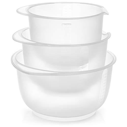 COM-FOUR® 3x bols antidérapant - bol à fond avec arrêt - bol à mélanger avec bec verseur - lavable au lave-vaisselle (3 parties - blanc)
