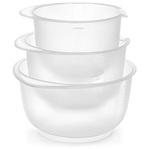 com-four® 3-teiliges Rührschüssel Set rutschfest - Backschüssel mit Stoppboden - Rührtopf mit Ausgießer - Spülmaschinengeeignet - Füllmenge 1,5 L, 2 L, 2,5 L (3teilig - weiß)
