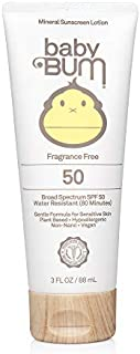Baby Bum Mineral Sunscreen Lotion - SPF 50 - UVA/UVB Face and Body Protection - Fragrance Free – Safe for Sensitive Skin- Travel Size - 3 FL OZ