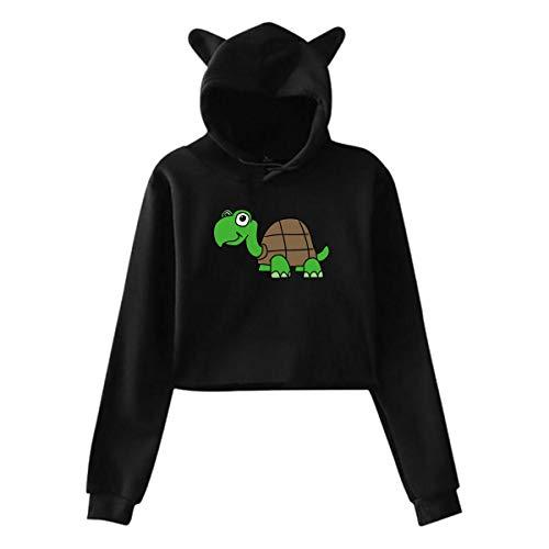 Little Turtle Cat Oreille À Capuche Chandail Filles Crop Top Hip Hop Chaud Cool(S,Noir)