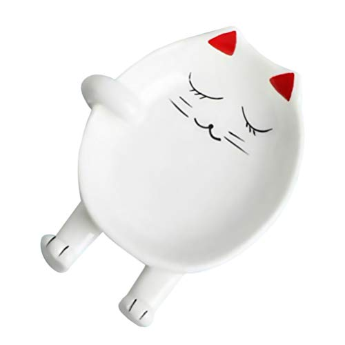 Hemoton - Portautensili da cucina in ceramica, motivo: animali, in porcellana, porta utensili per il resto, Natale, per cucina, novità regalo per posare utensili e bacchette (rosso)