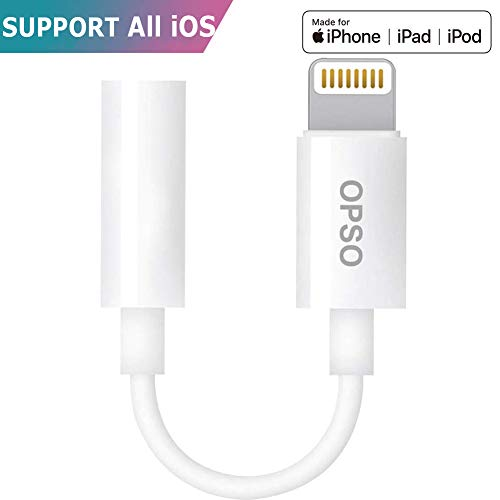 Adaptador Lightning Jack Apple para iPhone [Certificado por Apple] todos Sistemas iOS,Adaptador de Auriculares OPSO de 3.5mm para iPhone,iPad.QIYI UK es el único Vendedor de Los Artículos Originales