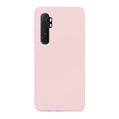 CUZZCASE Funda para Xiaomi Mi Note 10 Lite+{Protector de Pantalla de Vidrio Templado} Carcasa Silicona Suave Gel Rasguño y Resistente Teléfono Móvil Cover-Rosa Claro