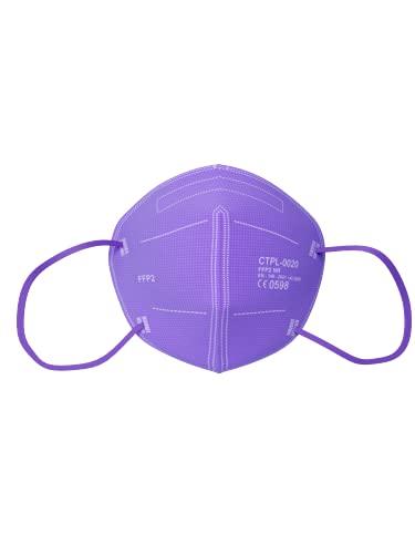 MediaSanex FFP2 Mundschutz   25 Stück   Atemschutzmaske   FFP2 Maske   5-lagig   CE-zertifiziert   Einzeln verpackt   Einmalgebrauch (Violett)