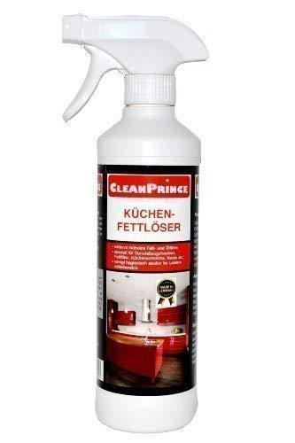CleanPrince Küchen-Fettlöser 0,5 Liter Küchenfettlöser 500 ml Dunstabzugshaube Fettfilm Öl Fettentferner Entfetter Küchenfett Gastronomie Küche Fett Reiniger Löser Dunsthaube Ablufthaube