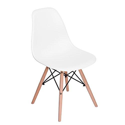 H.J WeDoo 1 x Designer Stuhl mit Edelstahl Beinen Stitz Stuhl Vintage Design Esszimmerstuhl Wohnzimmerstuhl Küchenstühle, Weiß