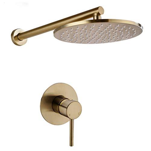 WYH Juego de ducha de baño de latón macizo dorado cepillado grifo de ducha de lluvia grifo montado en la pared conjunto de grifos de brazo de ducha