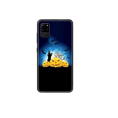 Halloween Calabaza teléfono caso para Samsung Galaxy S 3 4 5 6 7 8 9 10 E Plus Lite borde negro pintura impermeable silicona prime-5-Galaxy S4