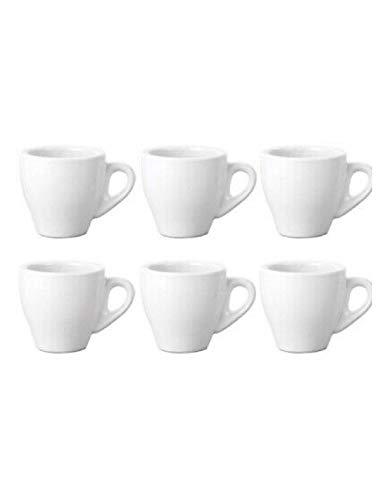 Pratiko Set 6 TAZZINE per Caffe' Tipo Bar in Ceramica, Senza PIATTINI