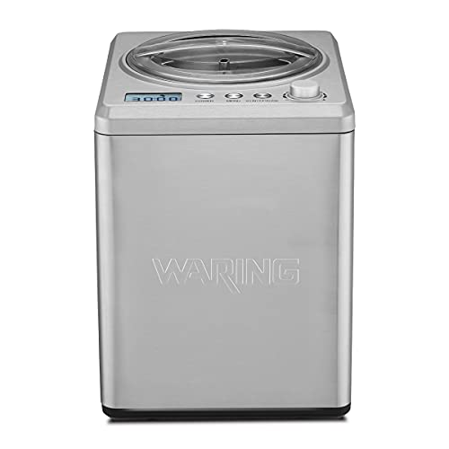 Waring Commercial WCIC25 2.5 Quart Capacity Ice Cream Maker with Built in Compressor, 180W, 120V, 5-15 Phase Plug