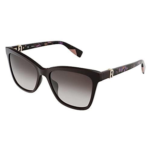 FURLA Gafas de sol SFU468 09FD 55 – 17 – 135 para mujer, ciruela completa brillante, lentes marrones degradadas