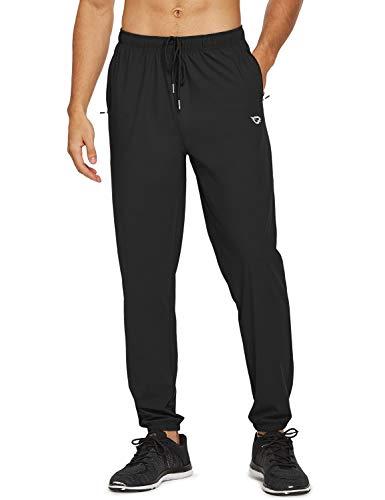 BALEAF Men's Lightweight Jogger Tapered Pants Running Dry Fit Zipper Pockets Workout Gym Drawstring Black Size S