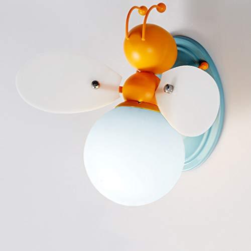 KUN PENG SHOP Chambre créative pour enfants, dessin animée, fille, lampe de chevet, carte décorative, abeille, LED, applique murale A+ (Couleur : Le jaune-Lumière blanche)