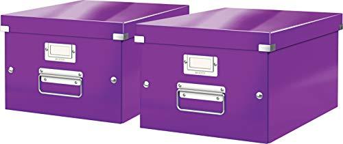 Leitz, Mittelgroße Aufbewahrungs- und Transportbox, Mit Deckel, Für A4, Click & Store (Lila, Mittel | 2er Pack)