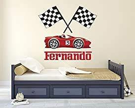 Beatete - Adhesivo decorativo para pared con nombre de carrera, diseño de carreras, decoración de pared con banderas, diseño de coche de carreras, cuarto de bebé, decoración de vinilo (24 pulgadas de ancho x 22 de alto)