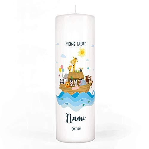 Striefchen® Taufkerze Arche Noah mit Aufdruck des Namen und Datum sowie Taufspruch