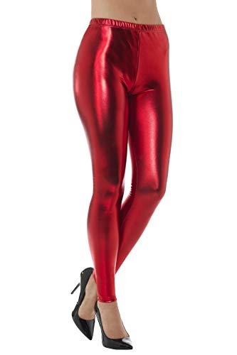 Smiffys, dames jaren 80 metallic disco leggings Large rood