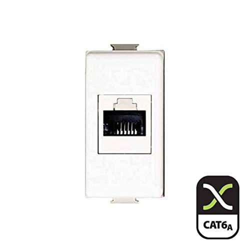Frutto rj45 UTP cat.6A presa modulare 8 poli per cavi ethernet compatibile BTicino Matix AM5979C6A Connessione a crimpare senza attrezzi, colore Bianco