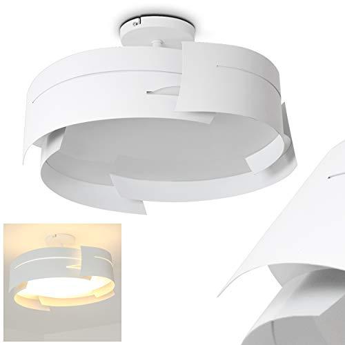 Deckenleuchte Novara, runde Deckenlampe aus Metall/Glas in Weiß, 3-flammig, 3 x E27-Fassung, max. 60 Watt, für LED Leuchtmittel geeignet
