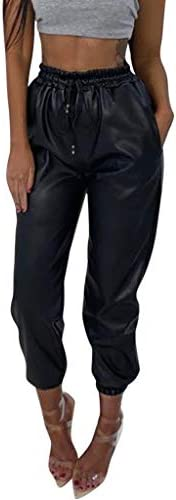 iYYVV Womens Ladies Faux Leather High Waist Joggers Bottoms Drawstring Pants Trousers Black product image