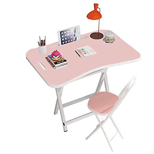 Kids Table and Chair Set Folding,Portable Kids Desk and Chair Set for 6-13 Year Old, Wooden Tabletop Children's Study Desk for Toddler Girls,Boys,Kids Room,Bed Room and School Activity