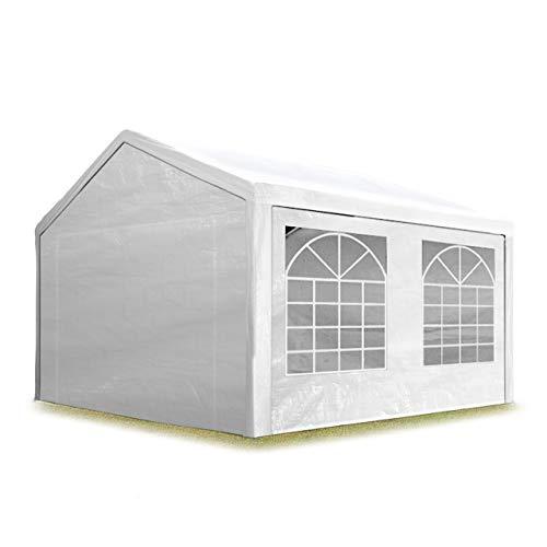 TOOLPORT Partyzelt Pavillon 3x3 m in weiß 180 g/m² PE Plane Wasserdicht UV Schutz Festzelt Gartenzelt