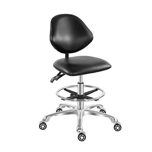Adjustable Rolling Stool Drafting Chair for Guitar Shop Pedicure Studio Work with Wheels and Backrest,Workbench Hydraulic Stool with Footrest (Black)