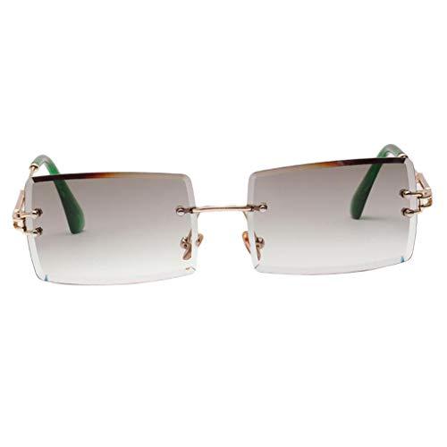 joyMerit Gafas de Sol Sin Montura con Corte Rectangular Vintage Gafas con Lentes Teñidas de Diseñador - Verde