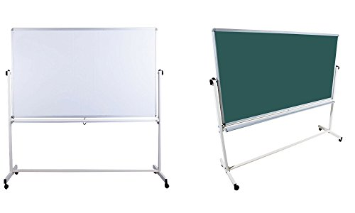 Mobile Tafel mit Kreidetafel und Whiteboard Oberfläche, in 2 Größen,mit gratis Zubehör (Stifte,Schwämme,Magnete), Größe:120x90 cm